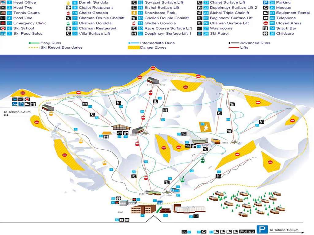 Dizin Ski resort Map