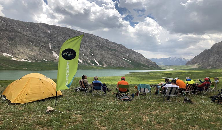 Trekking Iran, Lar National Park Camp, View of Lar Lake