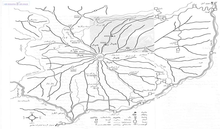 Mount Damavand Map-Sketch