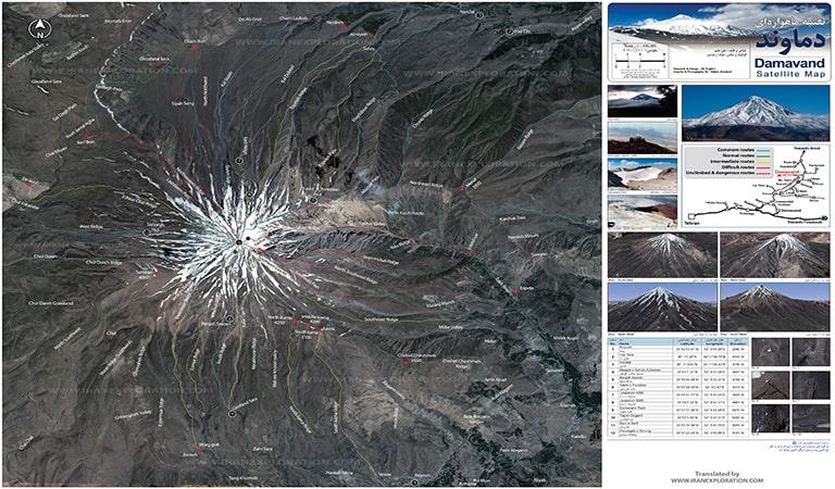 Mount Damavand Map-Satellite- www.IranExploration.com