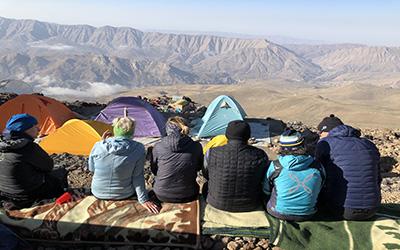 Mount Damavand Camp 2 & Alborz Mountains view