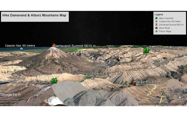 Hiking Mount Damavand & Alborz Mountains Map
